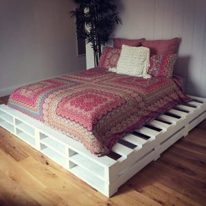 Split white double pallet bed frame